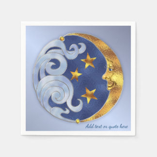 Celestial Moon and Stars Paper Napkin