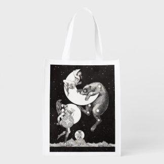 Celestial Moon Goddess Luna Ursa Major and Mars Grocery Bag