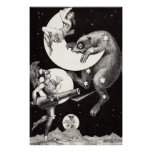 Celestial Moon Goddess Luna Ursa Major and Mars Poster