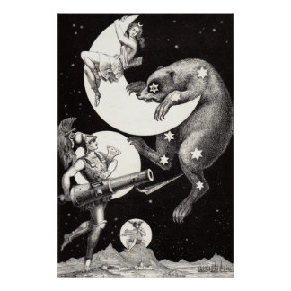 Celestial Moon Goddess Luna Ursa Major and Mars Poster