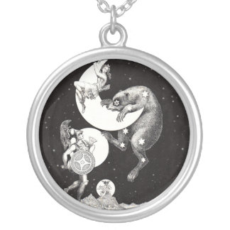 Celestial Moon Mars Saturn Planet Art Print Silver Plated Necklace