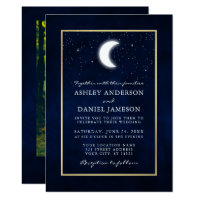 Celestial Moon Stars Gold Photo Wedding Invitation