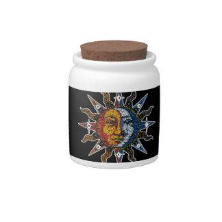 Celestial Mosaic Sun and Moon Candy Jar