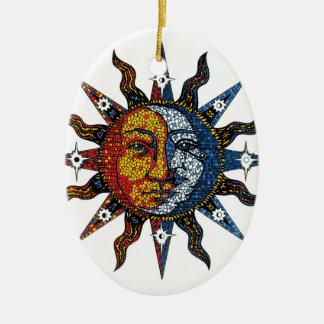 Celestial Mosaic Sun and Moon Ceramic Ornament