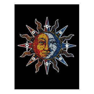 Celestial Mosaic Sun and Moon Postcard