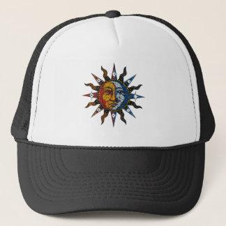 Celestial Mosaic Sun and Moon Trucker Hat