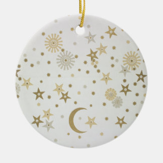 Celestial motif wallpaper, late nineteenth century Double-Sided ceramic round christmas ornament
