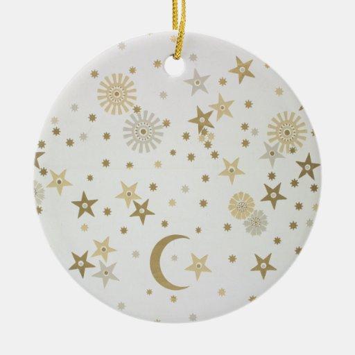 Celestial motif wallpaper, late nineteenth century christmas tree ornaments