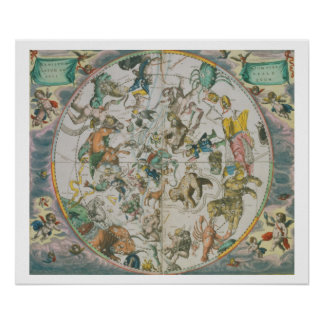 Celestial Planisphere Showing the Signs of the Zod Poster