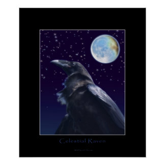 CELESTIAL RAVEN & MOON Art Print