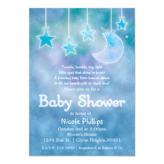 Celestial Sky Galaxy Moon & Stars BABY SHOWER Card