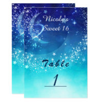 Celestial Sky Moon Sparkle Party Table Number Card