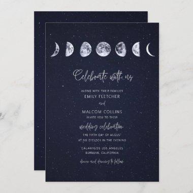 Celestial Starry Sky Moon Phases Celebrate Wedding Invitation