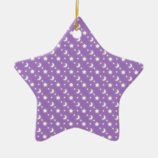 Celestial Stars and Moons on Purple Pattern Ceramic Ornament