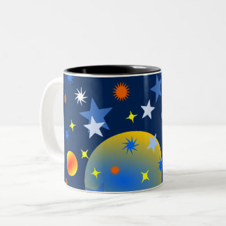Celestial Stars and Planets Two-Tone Coffee Mug