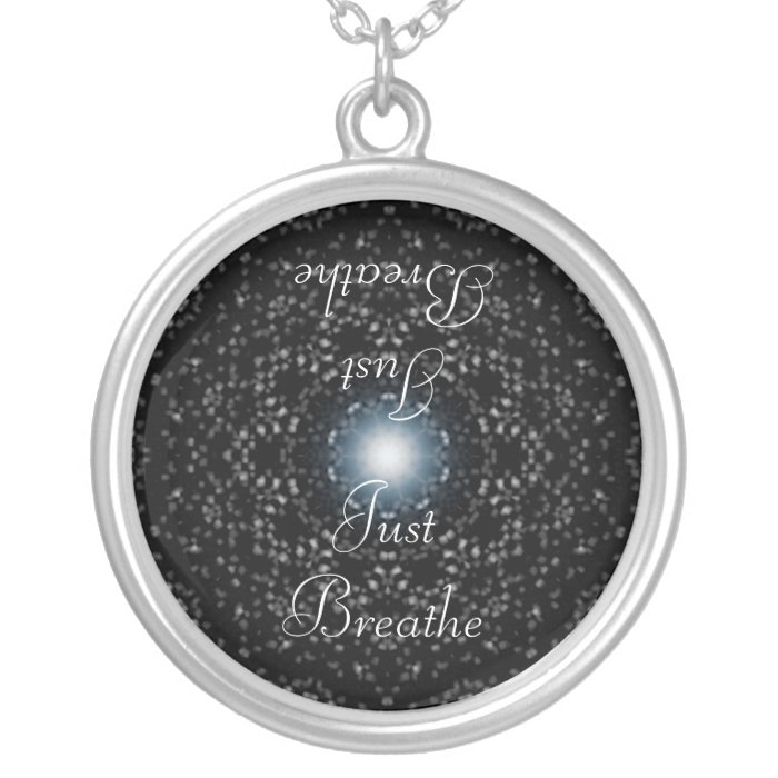 Celestial Stars on Black, Just Breathe Necklace