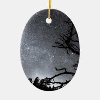 Celestial Stellar Dark Universe Double-Sided Oval Ceramic Christmas Ornament