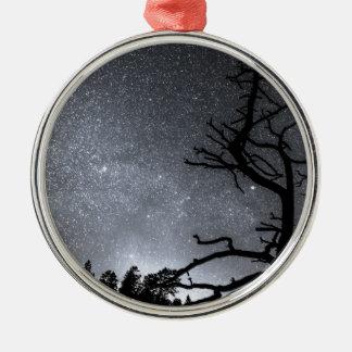 Celestial Stellar Dark Universe Round Metal Christmas Ornament