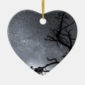 Celestial Stellar Dark Universe Double-Sided Heart Ceramic Christmas Ornament