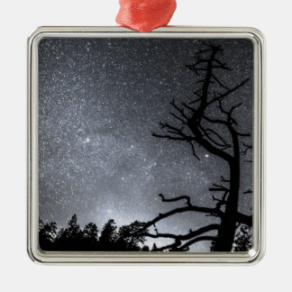 Celestial Stellar Dark Universe Square Metal Christmas Ornament