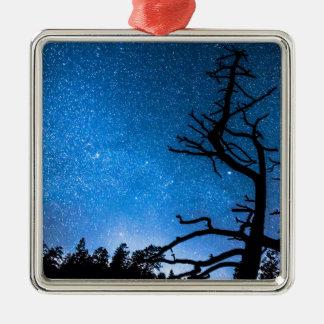 Celestial Stellar Universe Square Metal Christmas Ornament