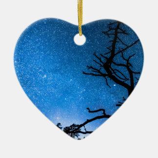 Celestial Stellar Universe Double-Sided Heart Ceramic Christmas Ornament