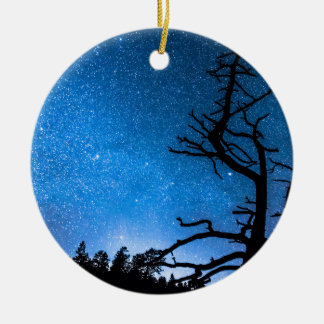 Celestial Stellar Universe Double-Sided Ceramic Round Christmas Ornament