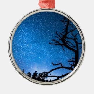 Celestial Stellar Universe Round Metal Christmas Ornament