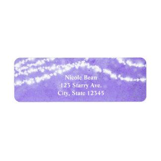 Celestial String Lights Purple Address Labels
