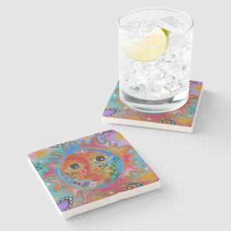 Celestial Sun and Moon Couple by Prisarts Stone Coaster