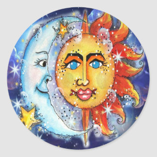 Celestial Sun and Moon Design Classic Round Sticker