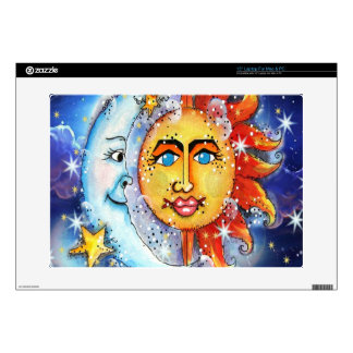 "Celestial Sun and Moon Design Decal For 15"" Laptop"