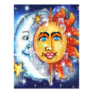Celestial Sun and Moon Design Personalized Letterhead