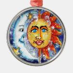 Celestial Sun and Moon Design Round Metal Christmas Ornament