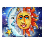 Celestial Sun and Moon Design Postcard
