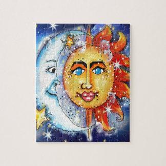 Celestial Sun and Moon Design Puzzle