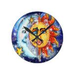 Celestial Sun and Moon Design Round Wall Clocks