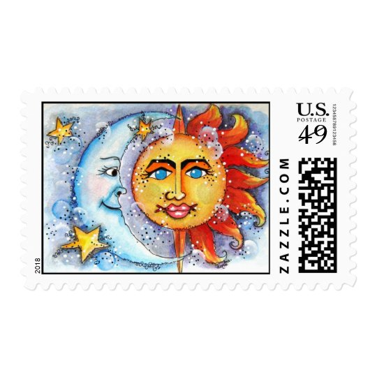 Celestial Sun and Moon Postage Stamps