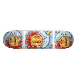 Celestial Sun and Moon Skateboard