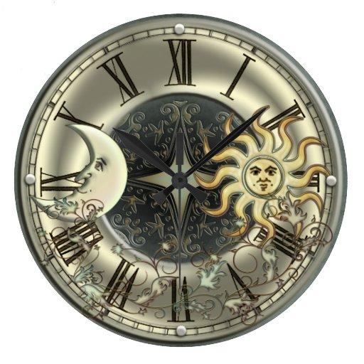 Celestial Sun And Moon Wall Clock Zazzle