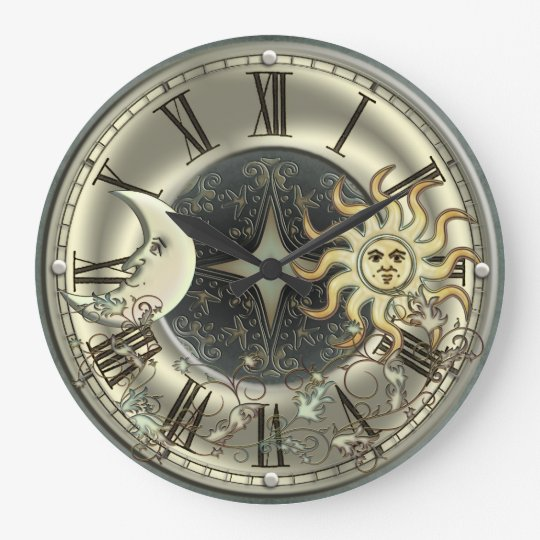 Celestial Sun And Moon Wall Clock Zazzlecom