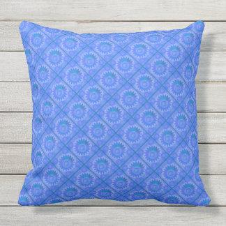 Celestial Sun Blue Outdoor Pillow
