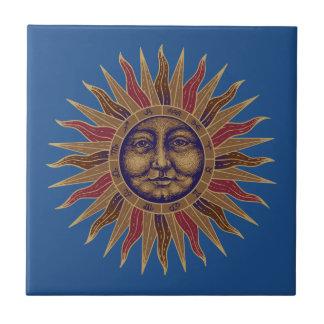 Celestial Sun Face Ceramic Tile