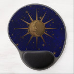 "Celestial Sun Moon Starry Night Gel Mouse Pad<br><div class=""desc"">Classy and unique sun and moon celestial brass bas relief graphic,  with a peaceful hand drawn man-on-the-moon face,  and sun rays,  over a starry night sky.</div>"