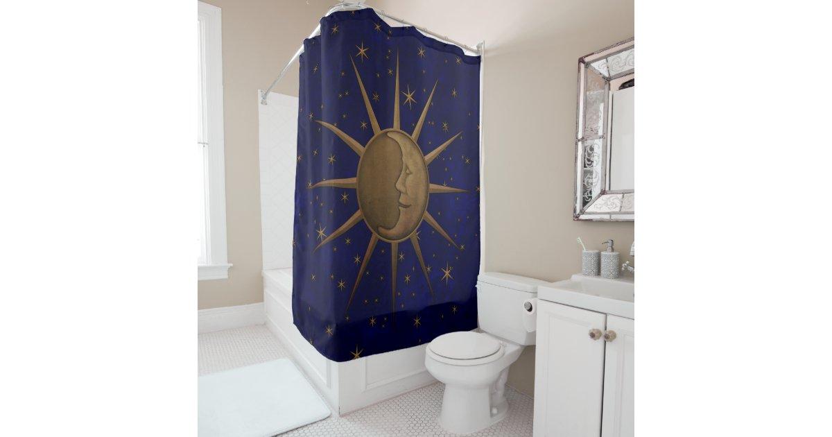 Celestial Sun Moon Starry Night Shower Curtain