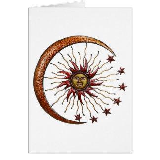 CELESTIAL SUN MOON & STARS ABSTRACT CARD