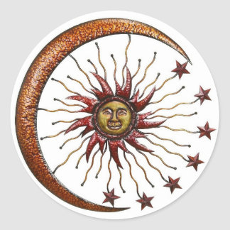 CELESTIAL SUN MOON & STARS ABSTRACT CLASSIC ROUND STICKER