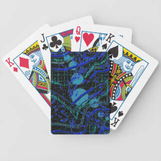 Celestial Techno Blue & Black Pattern Bicycle Playing Cards