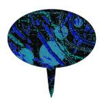 Celestial Techno Blue & Black Pattern Cake Topper