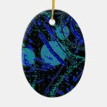 Celestial Techno Blue & Black Pattern Ceramic Ornament